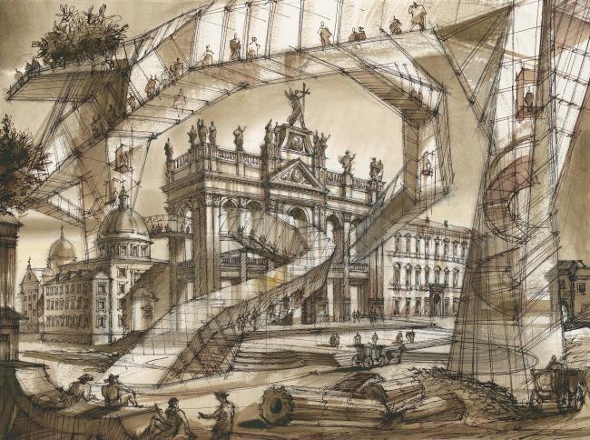 """The Imprint of the Future. Architectural fantasy inspired by Piranesi etching """"Veduta della Basilica di S. Giovanni Laterano"""""""