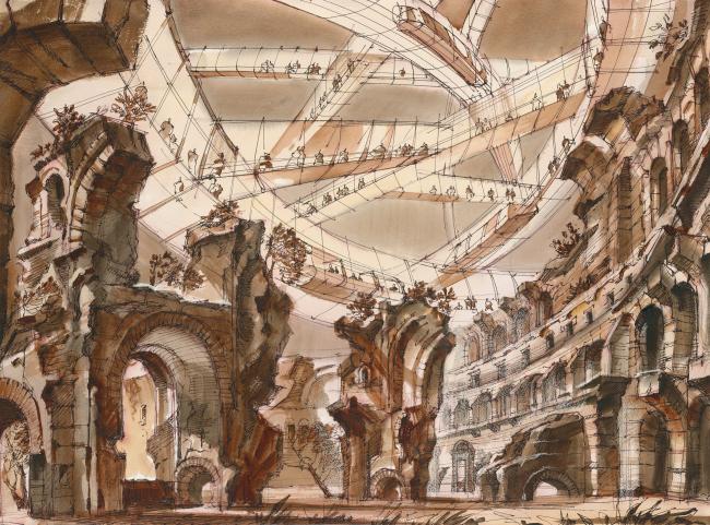 """The Imprint of the Future. Architectural fantasy inspired by Piranesi etching """"Rovine del Sisto, o sia della gran sala delle Terme Antoniniane"""""""