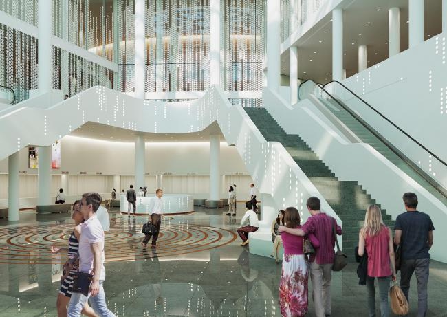 Предварительный дизайн-проект интерьера Государственной филармонии Якутии и Арктического центра эпоса и искусств. Вестибюль. 1 этаж. Вид 1