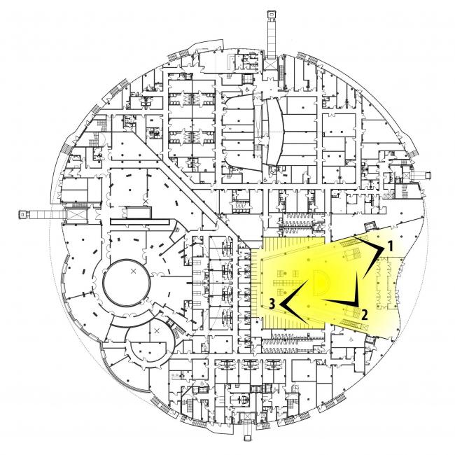 Предварительный дизайн-проект интерьера Государственной филармонии Якутии и Арктического центра эпоса и искусств.  Вестибюль. 1 этаж. Схема видовых точек на плане здания