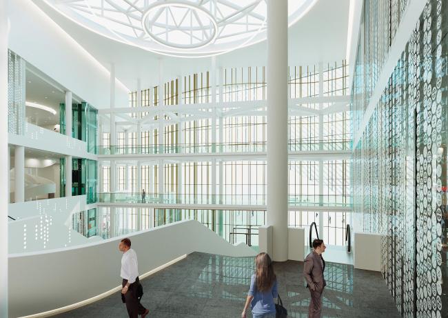 Предварительный дизайн-проект интерьера Государственной филармонии Якутии и Арктического центра эпоса и искусств.  Вестибюль. 3 этаж. Вид 2