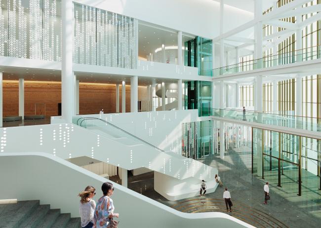 Предварительный дизайн-проект интерьера Государственной филармонии Якутии и Арктического центра эпоса и искусств.  Вестибюль. 3 этаж. Вид 3