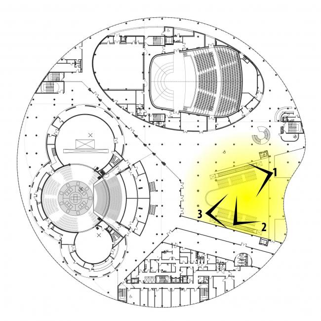 Предварительный дизайн-проект интерьера Государственной филармонии Якутии и Арктического центра эпоса и искусств.  Вестибюль. 3 этаж. Схема видовых точек на плане здания