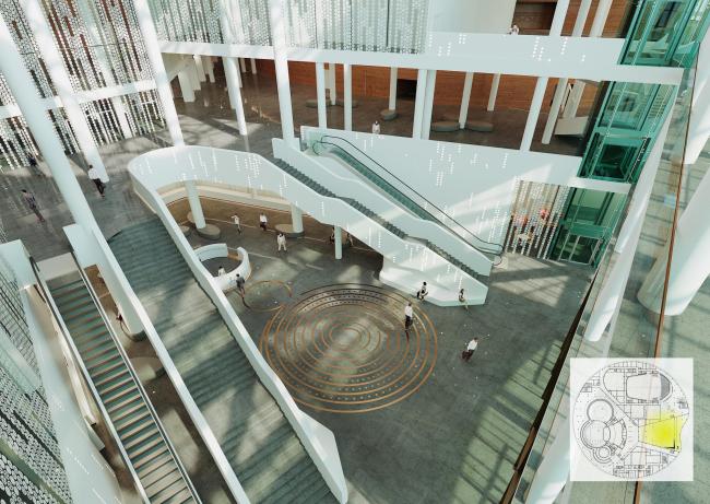 Предварительный дизайн-проект интерьера Государственной филармонии Якутии и Арктического центра эпоса и искусств.  Вестибюль. 5 этаж