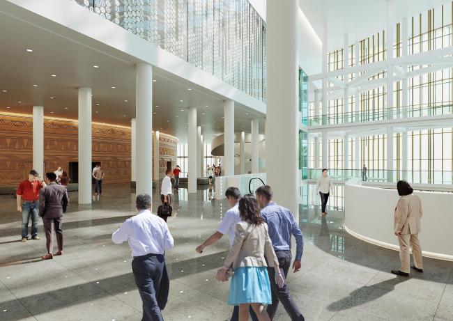 Предварительный дизайн-проект интерьера Государственной филармонии Якутии и Арктического центра эпоса и искусств.  Фойе филармонии. 3 этаж. Вид 3