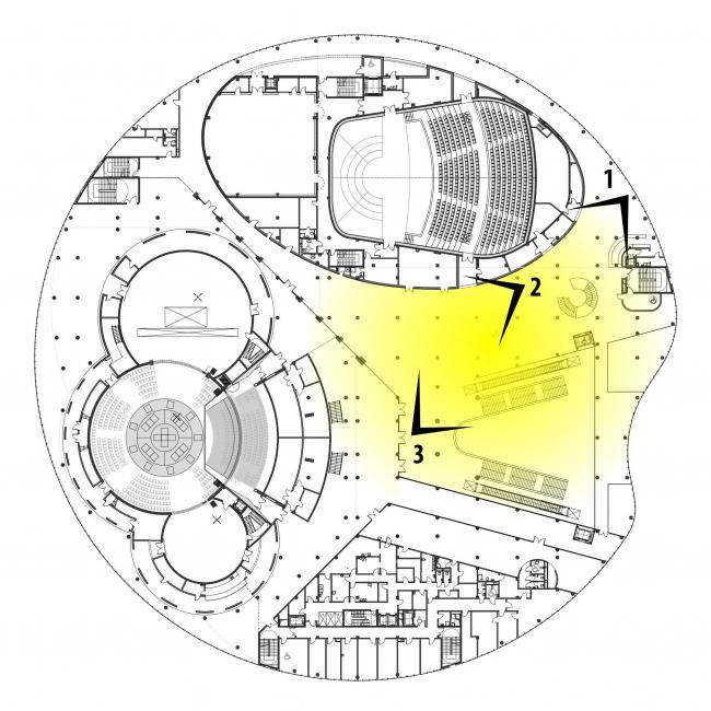 Предварительный дизайн-проект интерьера Государственной филармонии Якутии и Арктического центра эпоса и искусств.  Фойе филармонии. 3 этаж. Схема видовых точек на плане здания