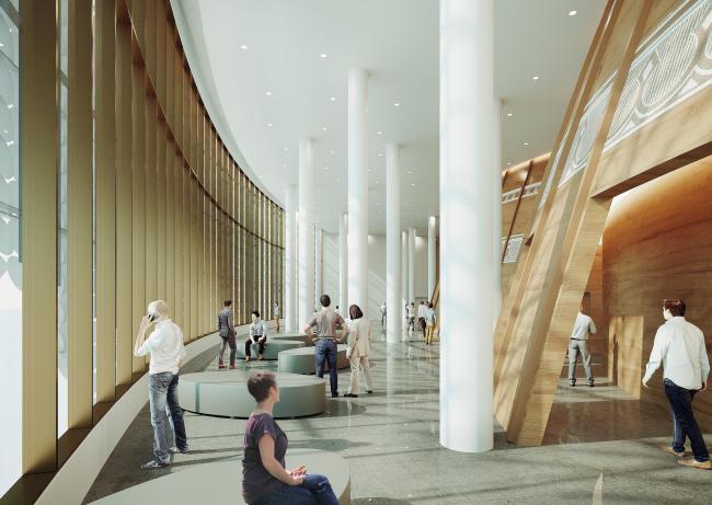 Предварительный дизайн-проект интерьера Государственной филармонии Якутии и Арктического центра эпоса и искусств. Фойе зрительных залов «Олонхо» и «Саха». 3 этаж. Вид 2