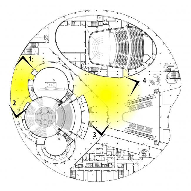 Предварительный дизайн-проект интерьера Государственной филармонии Якутии и Арктического центра эпоса и искусств. Фойе зрительных залов «Олонхо» и «Саха». 3 этаж. Схема видовых точек на плане здания