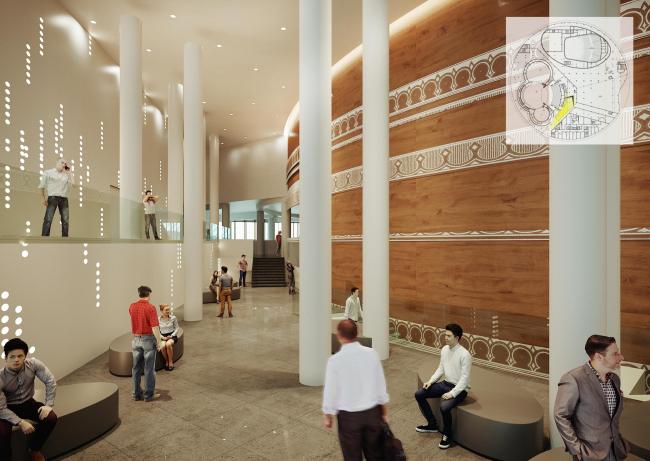 Предварительный дизайн-проект интерьера Государственной филармонии Якутии и Арктического центра эпоса и искусств. Фойе 4 этажа. Балкон зрительного зала «Саха»
