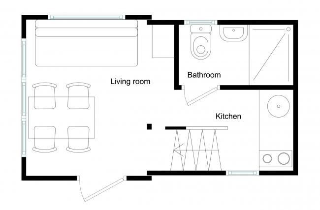 План 1 этажа. Brette 20 (Brette A22)