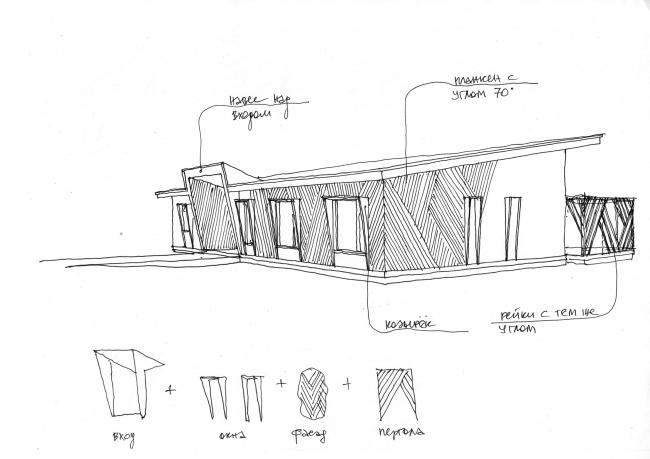 Эскиз для фасадного решения.Дом ОКО