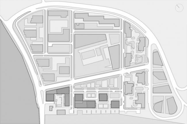 Схема генплана. Комплексы В3 и А5 жилого квартала «Спутник»
