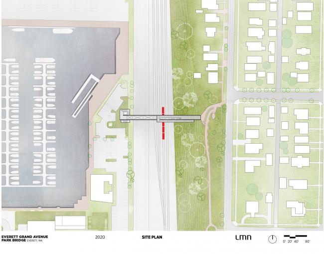 План участка. Пешеходный мост в Эверетте, штат Вашингтон