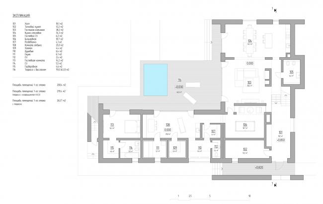 План 1-го этажа на отметке 0.000. VILLA E