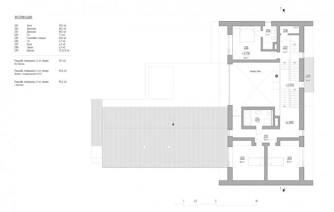План 2-го этажа на отметке 3,230 и 4,080.VILLA E