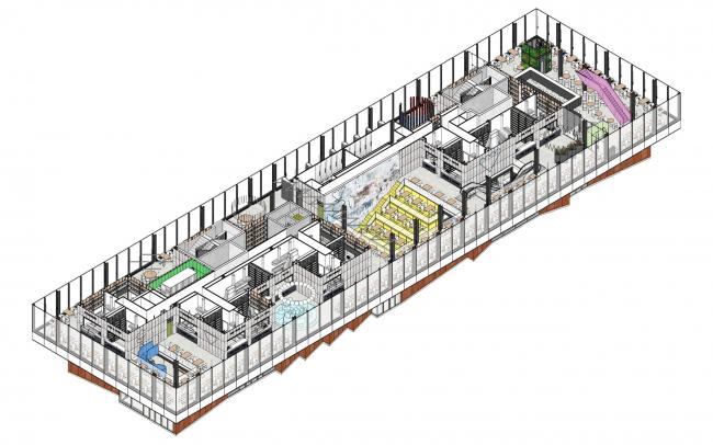 Аксонометрия 2-го  этажа. Чертаново гастромаркет