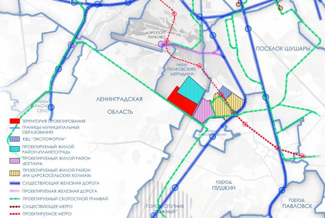 Ситуационная схема. Проект планировки территории района у Пулковских высот