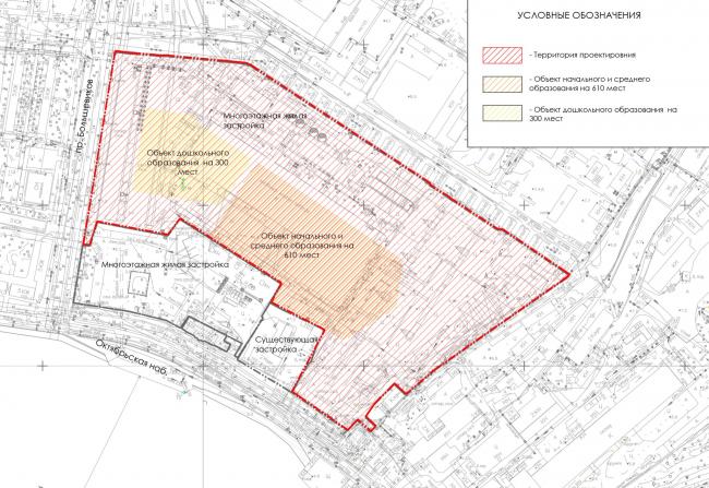Схема зонирования участка в квартале. ЖК на Октябрьской