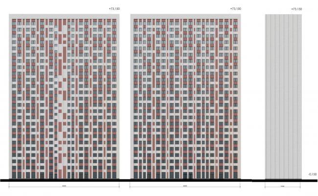 Фасады корпус К.2.1  К.2.3  К.2.5. ЖК на Октябрьской