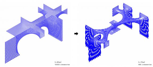 Параметрическая структура. Оптимизация. Шоурум Crane Design