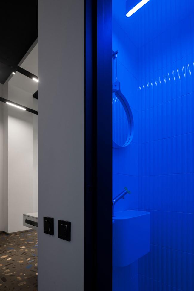 Холл с RGB светильником. Шоурум Crane Design