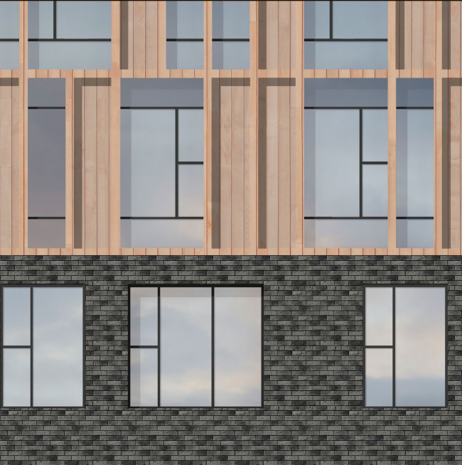 """Facade solutions.  Materials.  Option 1 (main).  Residential complex """"In the heart of Pushkino"""""""