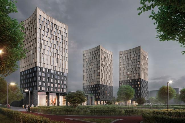"View from Oranzhereinaya street.  Option 2. Residential complex ""In the heart of Pushkino"""
