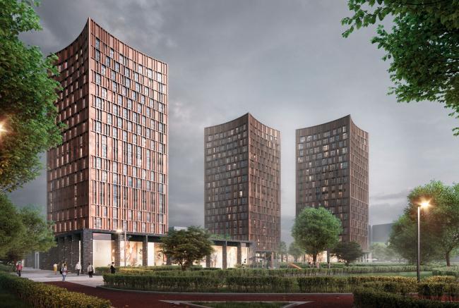 "View from Oranzhereinaya street.  Option 3. Residential complex ""In the heart of Pushkino"""