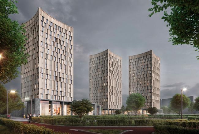"View from Oranzhereinaya street.  Option 4. Residential complex ""In the heart of Pushkino"""