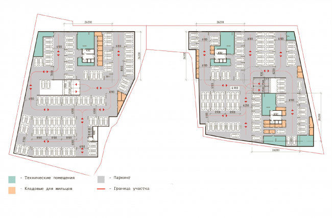 """Parking plan -2 floor.  Residential complex """"In the heart of Pushkino"""""""