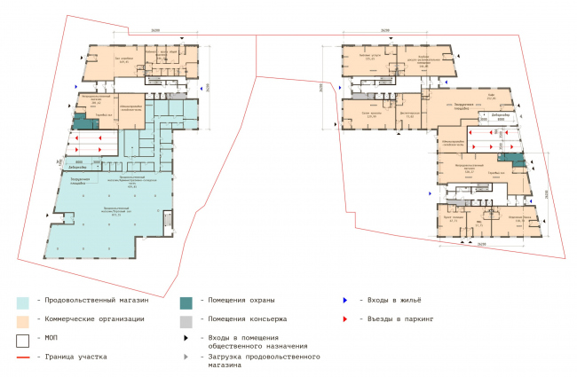 """Plan of the 1st floor.  Residential complex """"In the heart of Pushkino"""""""