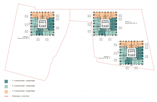 """The plan of the lower typical floor.  Residential complex """"In the heart of Pushkino"""""""