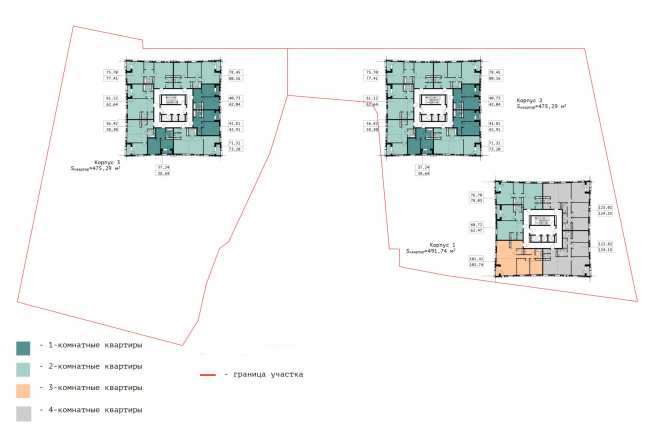 """Floor plan of the 16th floor.  Residential complex """"In the heart of Pushkino"""""""
