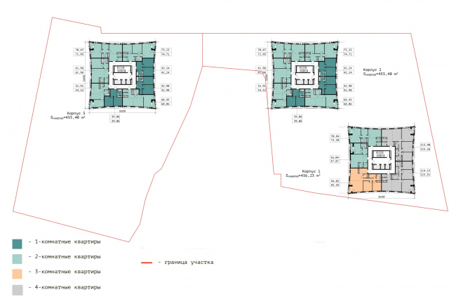 """Floor plan of the 17th floor.  Residential complex """"In the heart of Pushkino"""""""