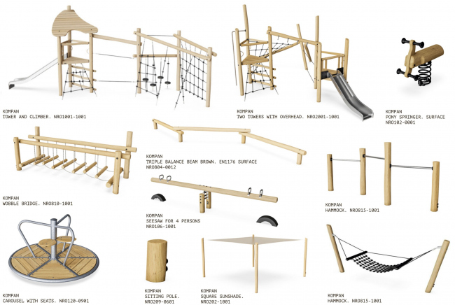"""Examples of play equipment.  Residential complex """"In the heart of Pushkino"""""""