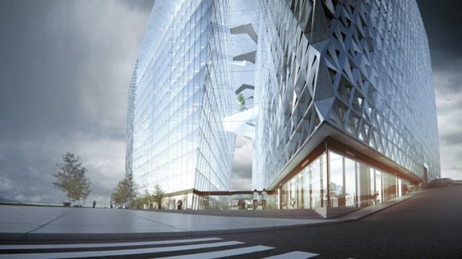Многофункциональный комплекс «Империя Тауэр», юго-восточный угол здания и вход в атриум. Проект, победивший в открытом конкурсе 2013 года
