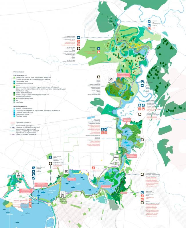 Карта биоразнообразия Казанки, разработанная в рамках Стратегии.  Стратегия развития прибрежных территории реки Казанки 2020–2030