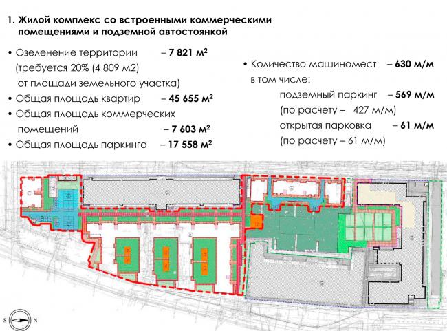 1. Жилой комплекс со встроенными коммерческими  помещениями и подземной автостоянкой. ЖК на Синопской набережной