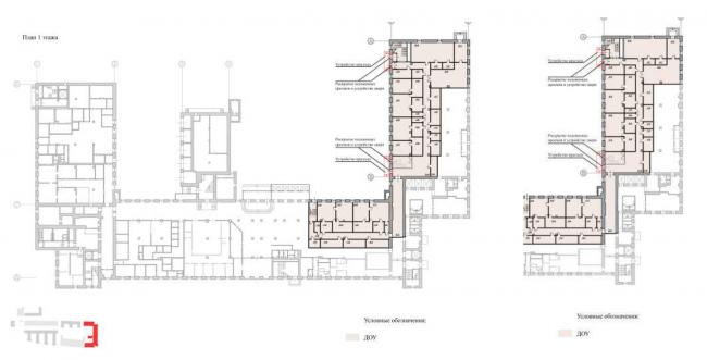 2.Реконструкция исторического здания  под встроенный ДОУ на 120 мест, 3. Подземный паркинг и озелененная  территория общего пользования. ЖК на Синопской набережной