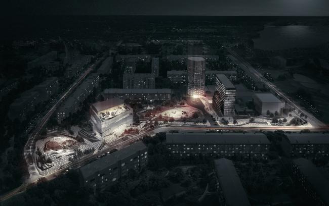 Ночной вид на квартал и штаб-квартиру ПАО «Татнефть». Комплекс ПАО «Татнефть»