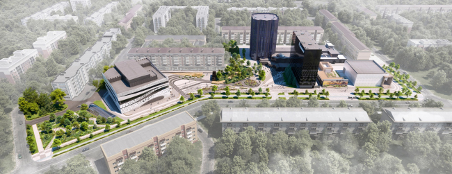 Вид на квартал и штаб-квартиру ПАО «Татнефть». Комплекс ПАО «Татнефть»