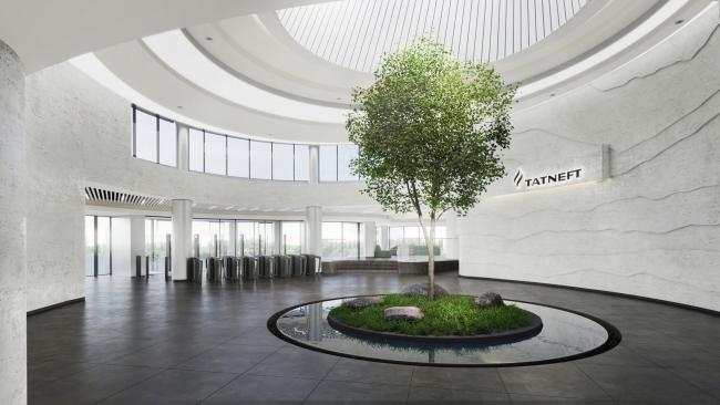 Главный вестибюль. Живое дерево посреди водной глади. Комплекс ПАО «Татнефть»