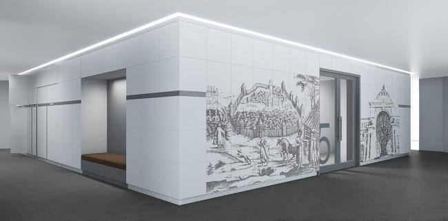 Центральное ядро вокруг лифтового блока (хранение, гардероб, принтер зона). Комплекс ПАО «Татнефть»