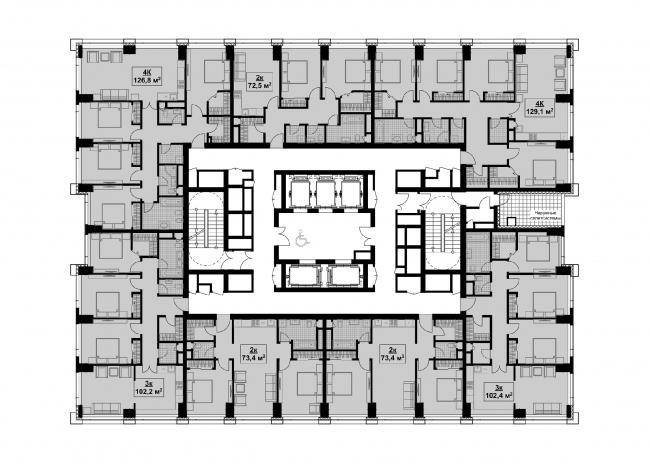 Типовой этаж. Корпус 2