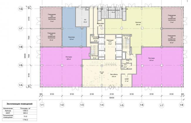 Останкино Business Park. План 1-го этажа 1 корпуса