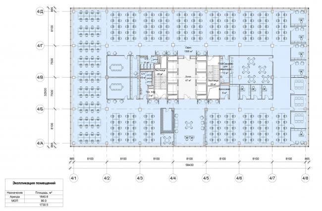 """Останкино Business Park. План типового этажа 1-4 корпуса (3-4 этаж). Вариант планировки """"Open Space"""""""