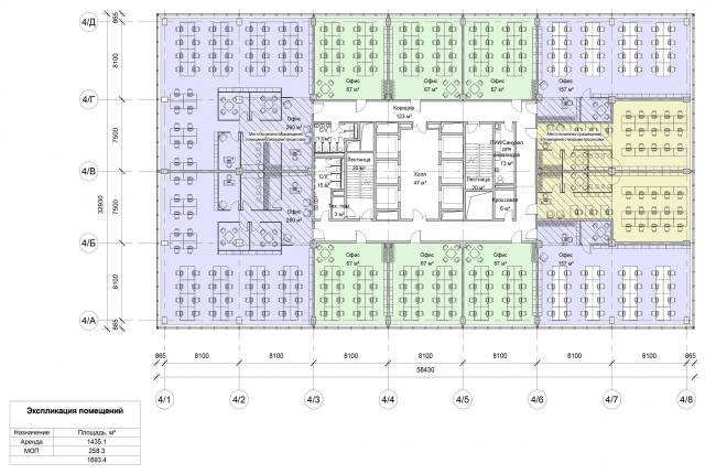 Останкино Business Park. План типового этажа 1-4 корпуса (3-4 этаж)