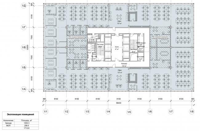 Останкино Business Park. План типового этажа 1-4 корпуса. Альтернативный вариант планировки