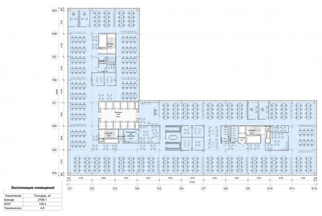 """Останкино Business Park. План типового этажа 5 корпус (3-4 этаж). Вариант планировки """"Open Space"""""""