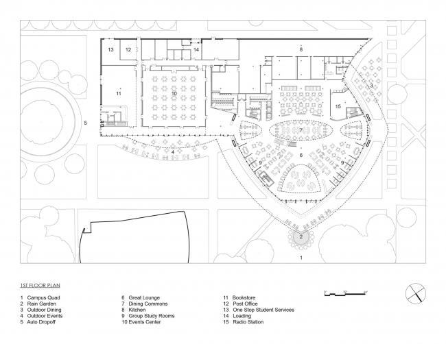 План первого этажа. Здание студенческого союза имени Мори Хоссейни